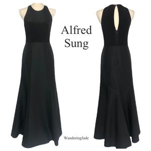Alfred Sung Black Mikado Jersey Trumpet Dress